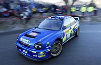 Motor - Rally: Monte Carlo Rally 18.01.2002. Petter Solberg fra Norge og Phill Mills. Subaru Impreza. <br />Foto: Alexandre Guillaumot, Digitalsport