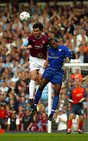 Photo. Chris Ratcliffe, Digitalsport<br /> NORWAY ONLY<br /> <br /> West Ham United v Ipswich Town. Division One Play-off Semi-final 2nd leg. 18/05/2004<br /> Christian Dailly of West Ham and Darren Bent go up for an aerial ball