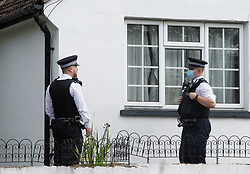 © Licensed to London News Pictures 10/10/2021.<br /> Orpington, UK, A 51 year old man has been found dead at a residential property in Orpington, South East London. A woman in her 40s has been arrested on suspicion of murder the property has a police cordon around it with officers standing guard. Photo credit:Grant Falvey/LNP