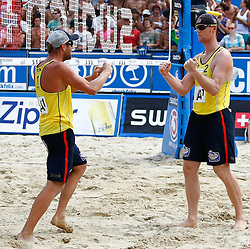 07.08.2011, Klagenfurt, Strandbad, AUT, Beachvolleyball World Tour Grand Slam 2011, im Bild Julius Brink und Jonas Reckermann (GER), EXPA Pictures © 2011, PhotoCredit: EXPA/ Erwin Scheriau