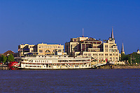 The riverboat Natchez and Riverwalk,  New Orleans, Louisiana, USA