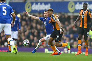 Morgan Schneiderlin of Everton and Abel Hernandez of Hull City battle for the ball. Premier league match, Everton v Hull city at Goodison Park in Liverpool, Merseyside on Saturday 18th March 2017.<br /> pic by Chris Stading, Andrew Orchard sports photography.