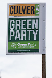 Chesham, UK. 16th June, 2021. A campaign sign for the Green Party candidate Carolyne Culver is pictured on the eve of the Chesham and Amersham by-election. The by-election was triggered by the death of Dame Cheryl Gillan, who had been the constituency's MP for 29 years, and it is expected to be a tight race between the Conservatives and the Liberal Democrats.