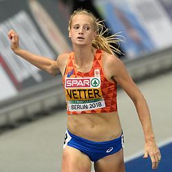 Anouk Vetter op de 200m van de meerkamp bij het EK atletiek in Berlijn op 9-8-2018