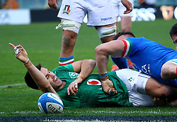 February 24, 2019 - Rome, Italy - Italy v Ireland - Rugby Guinness Six Nations.Conor Murray of Ireland celebrates after the try scored at Olimpico Stadium in Rome, Italy on February 24, 2019. (Credit Image: © Matteo Ciambelli/NurPhoto via ZUMA Press)