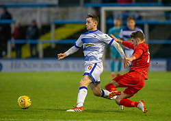 Brora Rangers Tom Kelly and Morton's Lewis Strapp. Morton 1 v 1 Brora Rangers, 3rd Round of the Scottish Cup played 23/11/2019 at Cappielow, Greenock.