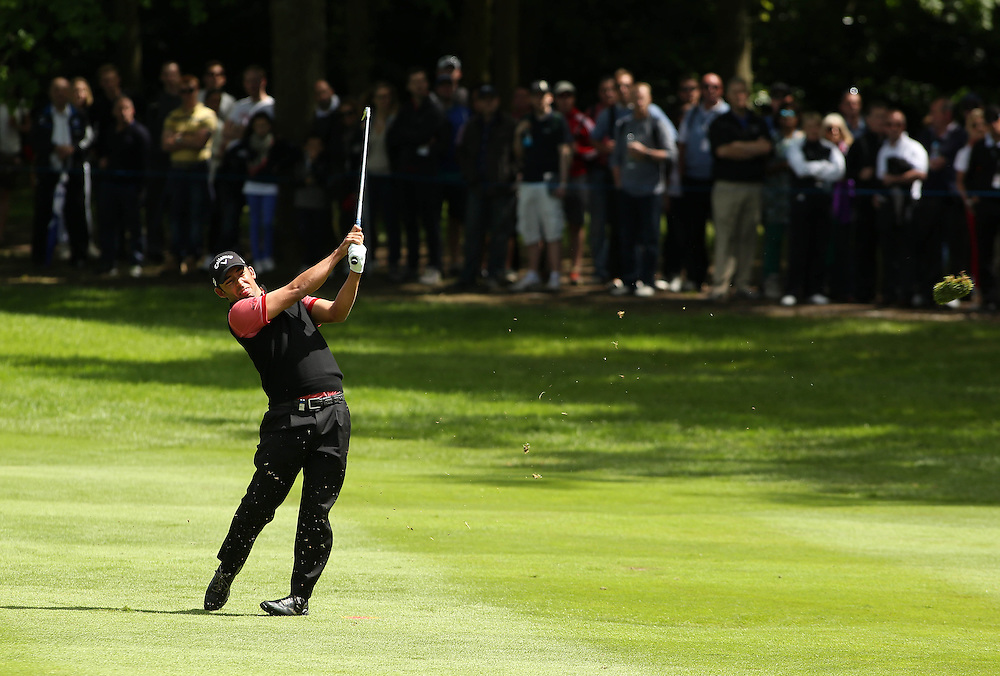 Pablo Larrazabel plays into the 3rd Hole.<br /> <br /> Photographer James Marsh/CameraSport<br /> <br /> Golf - 2014 BMW PGA Championship - Wentworth Club - Day 4 - Sunday 25th May 2014 - Virginia Water, Surrey, England<br /> <br /> © CameraSport - 43 Linden Ave. Countesthorpe. Leicester. England. LE8 5PG - Tel: +44 (0) 116 277 4147 - admin@camerasport.com - www.camerasport.com