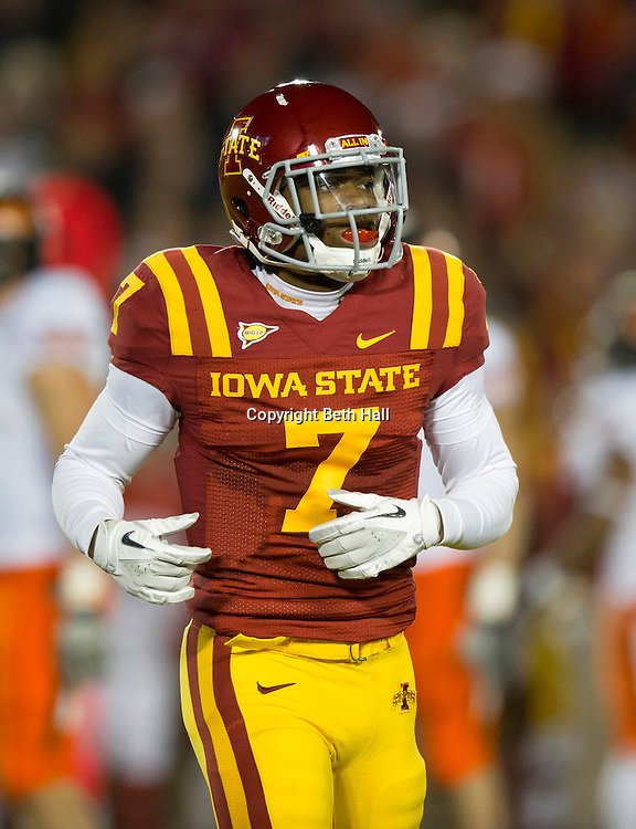 Nov 18, 2011; Ames, IA, USA; Iowa State Cyclones wide receiver Darius Reynolds (7) takes the field during the first half of a game against the Oklahoma State Cowboys at Jack Trice Stadium. Iowa State Cyclones defeated the Oklahoma State Cowboys 37-31. Mandatory Credit: Beth Hall-US PRESSWIRE Editorial sports photography of the Iowa State Cyclones vs. Oklahoma State Cowboys in 2011 in Aimes, Iowa.