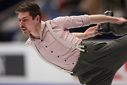 January 17, 2018 - Moscow, Russia - Figure skater Paul Fentz of Germany performs his short program during a men's singles competition at the 2018 ISU European Figure Skating Championships, at Megasport Arena in Moscow, Russia  on January 17, 2018. (Credit Image: © Igor Russak/NurPhoto via ZUMA Press)