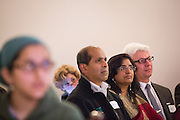 Nearly 90 people attended the World Culture Festival Bay Area Curtain Raiser event at the India Community Center in Milpitas, California, on January 20, 2016. (Stan Olszewski/SOSKIphoto)