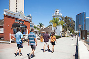 Tourists Walking around Seaport Village in San Diego