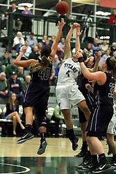 25 November 2014:  Lisa Palmer and Rebekah Ehresman during an NCAA women's division 3 CCIW basketball game between the Wisconsin Whitewater Warhawks and the Illinois Wesleyan Titans in Shirk Center, Bloomington IL