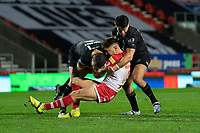 Rugby League - 2020 Betfair Super League - Semi-final - St Helens vs Catalan Dragons - TW Stadium<br /> <br /> St. Helens's Tom Makinson is tackled <br /> <br /> COLORSPORT/TERRY DONNELLY