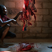 A farmer in drought-hit Masvingo Province, Zimbabwe, recovers meat from a cattle that had just died of starvation in Masvingo Province, Zimbabwe. <br /> <br /> Drought in southern Africa is devastating communities in Zimbabwe, leaving 4 million people urgently in need of food aid. The government declared a state of emergency,. <br /> <br /> Here in Masvingo Province, the country's hardest hit province, vegetation has wilted, livestock is dying, and people are at serious risk of famine. <br /> <br /> Pictures shot by Justin Jin