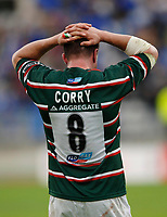 Photo: Henry Browne.<br /> Stade Francais v Leicester Tigers. Heineken Cup.<br /> 29/10/2005.<br /> Martin Corry looks upset after Tigers lose the game.