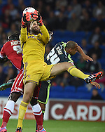 Dimi Konstantopoulos , the Middlesbrough goalkeeper  claims the ball. Skybet football league championship match, Cardiff city v Middlesbrough at the Cardiff city stadium in Cardiff, South Wales on Tuesday 16th Sept 2014<br /> pic by Andrew Orchard, Andrew Orchard sports photography.