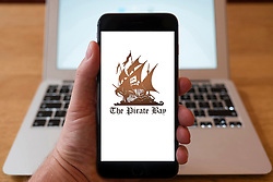 Using iPhone smartphone to display logo of The Pirate Bay file sharing website