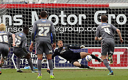 Rotherham United's Kieran Agard scores from the penalty spot - Photo mandatory by-line: Joe Dent/JMP - Mobile: 07966 386802 22/03/2014 - SPORT - FOOTBALL - Peterborough - London Road Stadium - Peterborough United v Rotherham United - Sky Bet League One