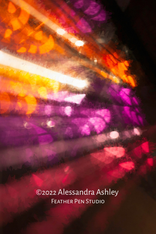 Abstract of lights in retail window, Butte, Montana.