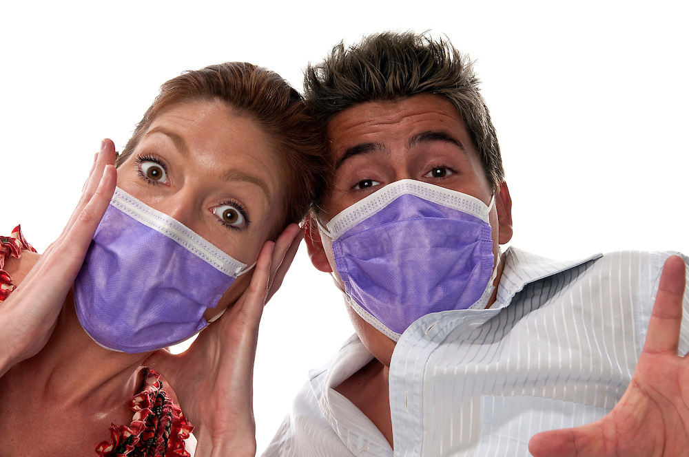 People with masks to protect from viruses and influenza or pollution.