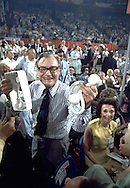 Nelson Rockefeller holds up a broken state delegation telephone at the Republican Convention in Kansas City, MO in August 1976..Photograph by Dennis Brack bs b 17