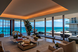 The living room, in a three-bedroom condo, at Arte by Antonio Citterio, an ultra-luxury condo in Surfside. Prices start at $7.9 million for an unfurnished, three-bedroom unit.