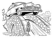 (A big American car driven by a woman drives over a narrow stone English humpback bridge).