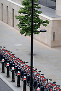 An urban landscape of cycle lane, pavement and the security docks of Santander rental bikes on the Farringdon Road in the City of London, the capitals financial district, on 24th June 2021, in London, England. The vertical line of a lamp post has merged with the trunk of a street tree.