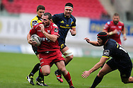 Ken Owens of the Scarlets makes a break. Guinness Pro12 rugby match, Scarlets v Munster at the Parc y Scarlets in Llanelli, West Wales on Saturday 3rd September 2016.<br /> pic by  Andrew Orchard, Andrew Orchard sports photography.