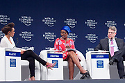Vimbayi Kajese, Founder<br /> #Adtags, Winnie Byanyima, Executive Director<br /> Oxfam International, Rich Lesser, Global Chief Executive Officer and President<br /> The Boston Consulting Group at the World Economic Forum on Africa 2017 in Durban, South Africa. Copyright by World Economic Forum / Greg Beadle