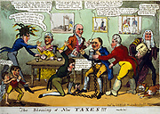 The Blessing of New Taxes!!!' John Bull is plagued by the Prince Regent (with gouty, swollen legs) and his ministers. Sidmouth,  Vansittart, Castlereagh, and Eldon Woolsack. Cartoon published London c1819.