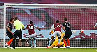 Football - 2019 / 2020 Premier League - Aston Villa vs. Chelsea<br /> <br /> <br />  Kortney Hause of Aston Villa scores at Villa Park. <br /> <br /> <br /> COLORSPORT/LYNNE CAMERON