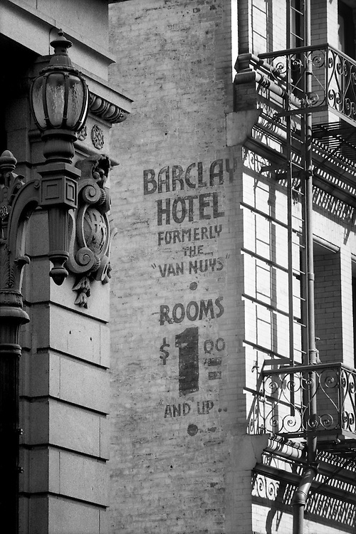 Handpainted Barclay Hotel Sign in Downtown Los Angeles, CA. (USA)<br /> Camera: Leica R8 / Lens: 180mm f/2.8 Elmarit-R / Film: Illford HP5 400