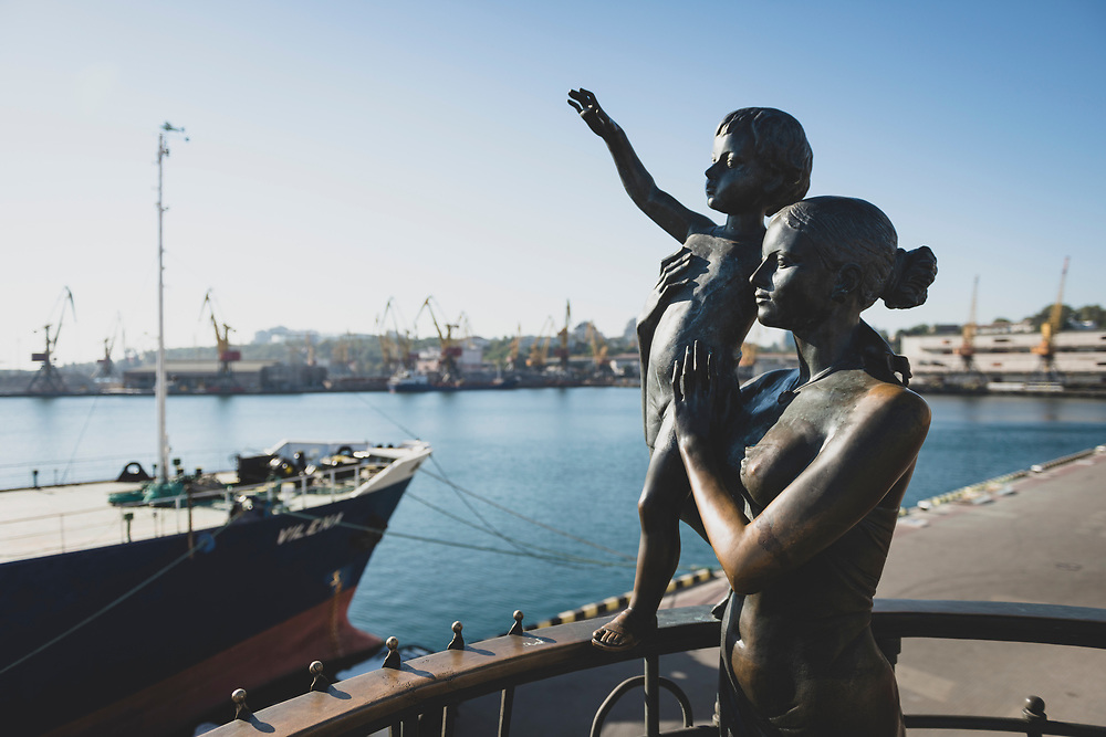 A bronze statue in the port of Odessa, depicting a mother with a child saying goodbye to her sailor husband, is the 2002 creation of Ukrainian artist Alexander Tokarev.<br /><br />(September 2016)