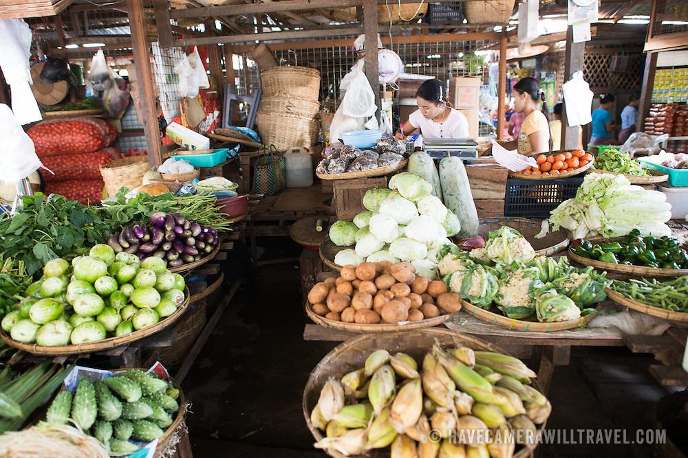 NYAUNG-U, Myanmar - Fresh fruits and vegetables for sale at Nyaung-U Market, near Bagan, Myanmar (Burma).