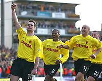 Photo: Scott Heavey<br />Watford V Burnley. 09/03/03.<br />Stephen Glass celebrates his free kick with Micah Hyde (middle) and Gavin Mahon (right) during this FA Cup quarter final between these two first division teams.