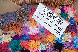Prodded rugs made out of recycled cloth,
