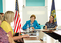 Senator Jeanne Shaheen listens to Kelley Gaspa Director of Behavioral Health Initiatives during the panel discussion with Daisy Pierce at Navigating Recovery on Friday afternoon.  (Karen Bobotas/for the Laconia Daily Sun)