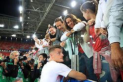 England's Jamie Vardy celebrates with wife Rebekah Vardy after his side win the penalty shoot out at the FIFA World Cup 2018, round of 16 match at the Spartak Stadium, Moscow.