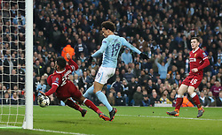 Manchester City's Leroy Sane is given offside during the UEFA Champions League, Quarter Final at the Etihad Stadium, Manchester.