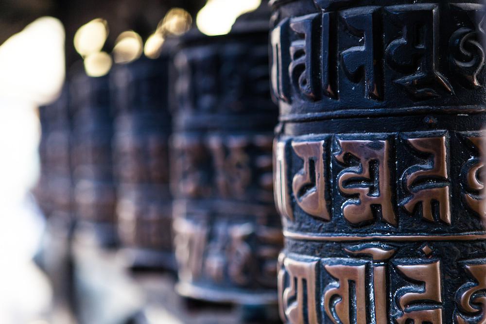 Swayambhunath prayer wheels. Kathmandu, Nepal