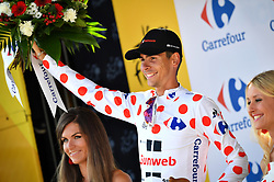 July 21, 2017 - Salon-De-Provence, FRANCE - French Warren Barguil of Team Sunweb celebrates on the podium in the red polka-dot jersey for best climber after the nineteenth stage of the 104th edition of the Tour de France cycling race, 222,5km from Embrun to Salon-de-Provence, France, Friday 21 July 2017. This year's Tour de France takes place from July first to July 23rd. BELGA PHOTO DAVID STOCKMAN (Credit Image: © David Stockman/Belga via ZUMA Press)