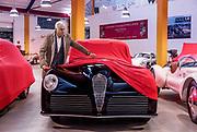Milano , il collezionista di auto d'epoca Corrado Lopresto.  Alfa Romeo 6C 2500 SS Bertone 1942