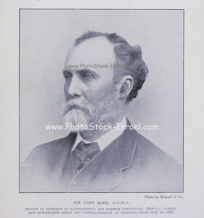Sir John Kirk, GCMG, KCB, FRS (19 December 1832 – 15 January 1922) was a physician, naturalist, companion to explorer David Livingstone, and British administrator in Zanzibar, where he was instrumental in ending the slave trade in that country. From the Book '  Britain across the seas : Africa : a history and description of the British Empire in Africa ' by Johnston, Harry Hamilton, Sir, 1858-1927 Published in 1910 in London by National Society's Depository