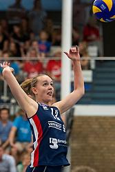 21-04-2019 NED: VC Sneek - Sliedrecht Sport, Sneek<br /> Final Round 2 of 5 Eredivisie volleyball - Sliedrecht Sport win 3-0 / Denise de Kant #12 of Sliedrecht Sport
