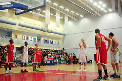 Essex Leopards' Tom Martin prepares to take a free shot - Photo mandatory by-line: Dougie Allward/JMP - Tel: Mobile: 07966 386802 23/03/2013 - SPORT - Basketball - WISE Basketball Arena - SGS College - Bristol -  Bristol Academy Flyers V Essex Leopards