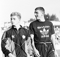Fotball<br />Treningskamp<br />Strømsgodset v Manchester United<br />30. juni 1991<br />Foto: Digitalsport<br />Mark Robins og Lee Sharpe