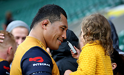 Anthony Perenise of Bristol Rugby with a young fan - Mandatory by-line: Robbie Stephenson/JMP - 03/09/2016 - RUGBY - Twickenham - London, England - Harlequins v Bristol Rugby - Aviva Premiership London Double Header