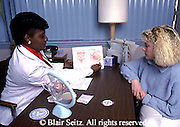 Medical, African American nurse, Caucasian teenage woman, Planned Parenthood Clinic, Counseling