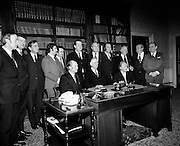 The outgoing Fianna Fail Cabinet  (19th Dail) with President Eamon de Valera. On either side of the President are Jack Lynch (left) and Erskine Childers (right). Standing (L-R) are: Michael O'Kennedy, Gerry Cronin, Jim Gibbons, Bobby Molloy, Des O'Malley, Padraig Faulkner, George Colley, Paddy Lawlor, Joe Brennan, Sean Flanagan and Gerry Collins.14/03/1973